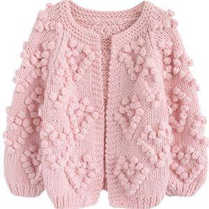 Chunky Heart ❤️ Puff Ball Sweater Cardigan